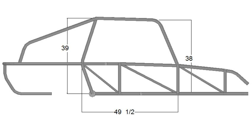 Coal Cracker - Side View Dimensions