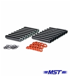 MST - BLACK - ALUMINUM PUSH ROD TUBES - SET OF 8