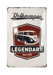 "VW T1 SPLIT SCREEN BUS METAL SIGN - LEGENDARY - Size: 7.87"" X 11.81"""