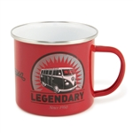 VW BUS SPLIT SCREEN VINTAGE RED LOGO - ENAMEL MUG - 500ML - 16.9 OZ