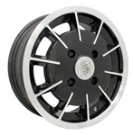"EMPI 10-1080 - GASSER RIM - Gloss Black w/ Polished Lip & Face - ET 25 - BS 4.25 - 60* SEAT -4x130 - 15""X5.5"""