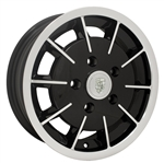 "EMPI 10-1081 - GASSER RIM - Gloss Black w/ Polished Lip & Face - ET 45 - BS 5 - BALL SEAT - 5x130 - 15""X5.5"""