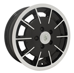 "EMPI 10-1082 - GASSER RIM - Gloss Black w/ Polished Lip & Face - ET 20 - BS 4 - 60* SEAT - 5x112 - 15""X5.5"""