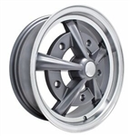 "EMPI 10-1090 - RAIDER - Anthracite w/ Polished Lip - ET 40 - BS 5 1/2"" - 60* SEAT - 5X205 - 17X7"""