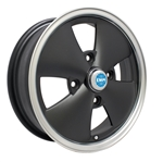 "EMPI 10-1092 - 4 SPOKE RIM -Matte Black w/ Polished Lip - ET 25 - BS 4.5 - 60* SEAT -4x130 - 15""X5.5"""
