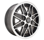 "EMPI 10-1100 - COSMO RIM - Gloss Black w/ Polished Lip & Face - ET 35 - BS 4.5 - 60* SEAT -4x130 - 15""X5.5"""