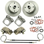 EMPI 22-2871-F - REAR DISC BRAKE KIT WITH E-BRAKE & HD CALIPER BRACKETS - 4X130 WITH 14X1.5MM THREADS - I.R.S. 73-79