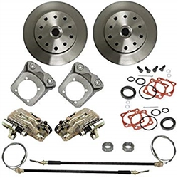 "EMPI 22-2914-F - REAR DISC BRAKE KIT WITH E-BRAKE & HD CALIPER BRACKETS - DOUBLE-DRILLED 5X130 WITH 14X1.5MM THREADS / 5X4.75"" WITH 12MM THREADS - I.R.S. 73-79"