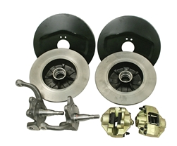 EMPI 22-2981 - BALL JOINT FRONT DISC BRAKE KIT WITH STOCK STYLE SPINDLES - ROTORS DOUBLE DRILLED - 5X130 WITH 14X1.5MM THREADS & 5X4.75 WITH 12MM THREADS