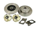 EMPI 22-2982 - SUPER BEETLE FRONT DISC BRAKE KIT - ROTORS DOUBLE DRILLED - 5X130 WITH 14X1.5MM THREADS & 5X4.75 WITH 12MM THREADS