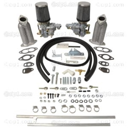 EMPI 47-7421 - DUAL EMPI 34MM EPC CARBURETOR KIT WITH EXTRA TALL INTAKE MANIFOLDS - TWIST PULL LINKAGE FOR DUAL PORT T1 BEETLE STYLE ENGINES