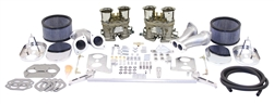 EMPI 47-8317 - EMPI DELUXE DUAL 40 HPMX CARBURETOR KIT WITH CHROME STEEL AIR CLEANERS
