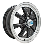 "EMPI 9682 - GT-8 - Gloss Black w/ Polished Lip - ET 30 - BS 4 3/8"" - 60* SEAT - 4X130 - 15X5.5"""