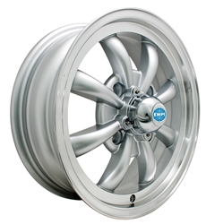 "EMPI 9685 - GT-8 - Silver w/ Polished Lip - ET 30 - BS 4 3/8"" - 60* SEAT - 4X130 - 15X5.5"""