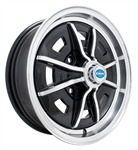 "EMPI 9688 - SPRINTSTAR - Gloss Black w/ Polished Lip & Spokes (8 Spoke) - ET 25 - BS 4"" - 60* SEAT - 4X130 - 15X5"""