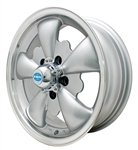 "EMPI 9695 - GT-5 - Silver w/ Polished Lip - ET 20 - BS 4"" - 60* SEAT - 5X112 - 15X5.5"""