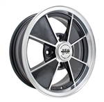 "EMPI 9734 - BRM RIM - Gloss Black w/ Polished Lip & Spoke Edges -  ET 15 - BS 3 3/4"" - 60* SEAT -4X130 - 15""X4.5"""