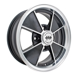 "EMPI 9735 - BRM RIM - Gloss Black w/ Polished Lip & Spoke Edges -  ET 15 - BS 3 3/4"" - 60* SEAT -4X130 - 15""X5.5"""