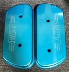 MST - OCEAN BLUE - BILLET ALUMINUM VALVE COVERS WITH VENTS - USES STOCK VALVE COVER GASKETS