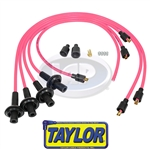 8MM TAYLOR SPIRO SPARK PLUG IGNITION WIRES - HOT PINK - VIRGIN SILICONE JACKET & CORE