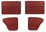 Bug -65-66 Full Set; 4pc - AUTHENTIC DOOR PANELS - OEM CLASSICS / VINTAGE VINYL / VELOUR / TWEED - FULL SET - NO POCKETS