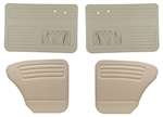 Bug -65-66 Full Set; 4pc - AUTHENTIC DOOR PANELS - SMOOTH VINYL - FULL SET - WITH POCKETS