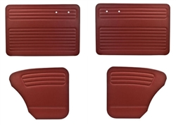 Convertible Bug -50-55 Full Set; 4pc - AUTHENTIC DOOR PANELS - SMOOTH VINYL - FULL SET - NO POCKETS
