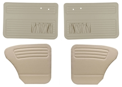 Convertible Bug -50-55 Full Set; 4pc - AUTHENTIC DOOR PANELS - OEM CLASSICS / VINTAGE VINYL / VELOUR / TWEED - FULL SET - WITH POCKETS