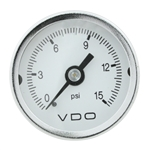 "VDO V153002 - MINI SERIES - WHITE COCKPIT MINI PSI GAUGE, 1 ½"" W/1/8"" -27 NPT CONNECTIONS."